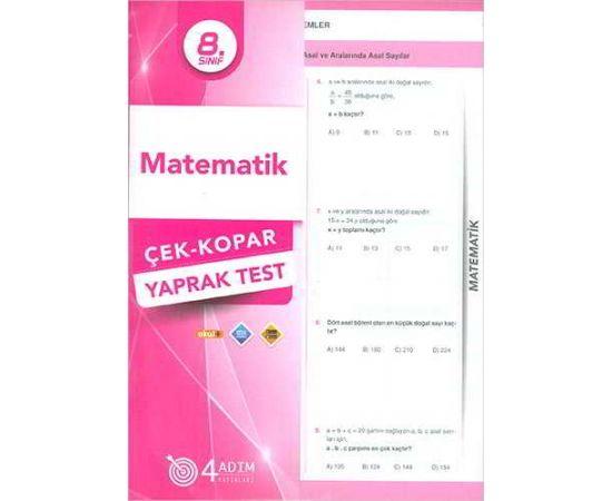 4 Adım 8.Sınıf Matematik Çek Kopar Yaprak Test